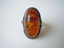 Großer 925 Silber Ring mit Honig Natur Bernstein 7,9 g / RG 57 Genuine Amber