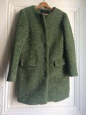 Manteau ZARA Basic M 38 vert sauge fausse fourrure Très bon état hiver modetico