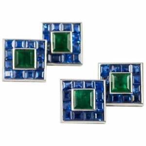 Charming Sapphire & Green Emerald Cuff Link & Stud Cufflinks Set In Real 925 SS