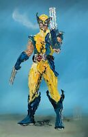 ORIGINAL Abstract Wolverine Xmen X-men Marvel Comic Pop Art Painting 11x17""