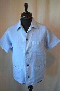 Vintage Gloriette New Style pale blue cotton shirt in size medium mod rockabilly