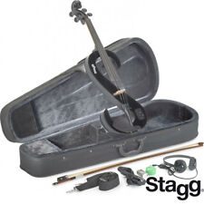 NEW Stagg 4/4 Full Size S Shape Electric Viola - BLACK + Case, Bow, Headphones