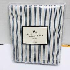 Pottery Barn Paris Stripe Full Sz Bedskirt Blue Off White Bed Skirt Beach New
