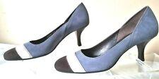 Suede Pumps Kitten Heels Cole Haan Shoe Women's Size 7.5 B Round Toe Blue Brown