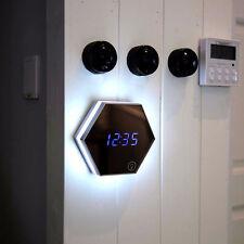 Digital Makeup Mirror Glass Wall Clock Alarm Clock Night Lights Thermometer LED