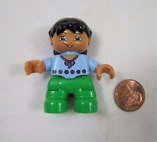 LEGO DUPLO ASIAN TODDLER GIRL DAUGHTER Blue Shirt Green Pants FIGURE Rare