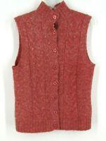 LL BEAN Women's Pink Cable Knit Cardigan Vest Sweater Sleeveless Medium