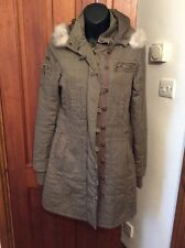GREEN PARKA M BILLABONG Khaki Green Parka Style Coat M Hardly Worn