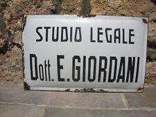 STUDIO LEGALE DOTT. E. GIORDANI Tabella SMALTATA Insegna PORCELLANA Targa '70