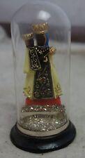 antike kleine Heiligenfigur Muttergottes Altötting unter Glasdom Glas Sturz