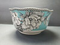 Adelaide Turquoise Soup/Cereal Replacement Bowls Flowers & Birds by 222 Fifth