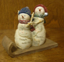 Birch Hearts Snowman Figurines #81115 FUN FRIENDS, by BARB McDONALD NEW/Box 4""