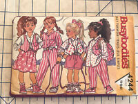 Vintage 1989 Buttericks Busy Bodies Toddler Sewing Pattern 4244 sz 4 / 5/ 6