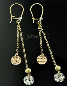 14k solid 3 tone gold dangling earring earrings diamond cut 1.70 gram lever back