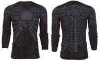 Archaic AFFLICTION Mens THERMAL T-Shirt COLLISION Tattoo Biker MMA M-3XL $58