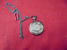 Vintage Demi Hunter Case Pocket Watch With Skeletonized Movement In Rear & Chain