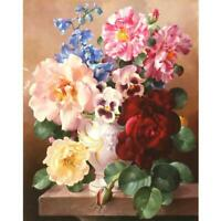 Colorful Flowers Cotton Thread Cross Stitch DIY Needlework Embroidery Kits NEW