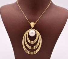 """Filigree Drop Oval Pearl Necklace 14K Yellow Gold Clad Silver 925 QVC 18"""""""