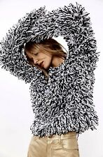 NEW Urban Outfitter Glamorous black white Loopy Shaggy Fringe Pullover Sweater M