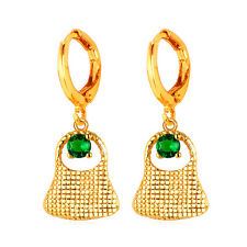 Green Cubic Zirconia 18K Gold Plated Purse Shaped Women Drop Dangle Earrings