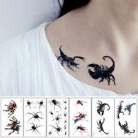 3D Spider Scorpion Temporary Tattoo Stickers Halloween Fake Tattoo Body Art T le