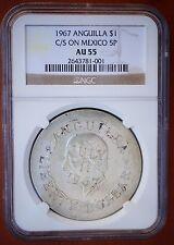 1967 Anguilla Liberty Dollar Counterstamp on Mexico 1952 5 Pesos NGC AU55 RARE