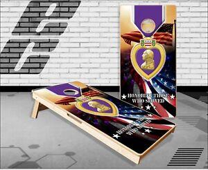 Purple Heart Cornhole Boards Bean Bag Toss Game
