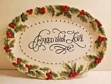 """Fitz & Floyd Cookie Platter """"Baked With Love"""" Christmas Holiday Plate Embrossed"""