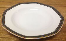 Christopher Stuart YOOO9 Black Dress 1 Soup Bowl Rim White Octagonal Gold Trim