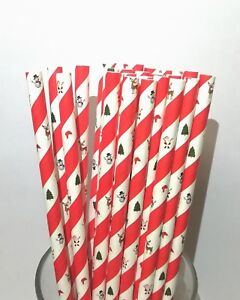 """Christmas Paper Drinking Straws 8"""" (20cm) Biodegradable Compostable Dia 6mm"""