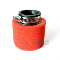 42mm Bent Angled Foam Air Filter Pod 150cc PIT Quad Dirt Bike ATV Buggy RED