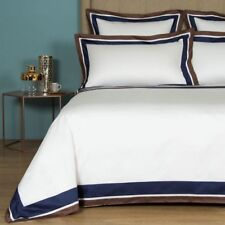 RET.$1100+tax FRETTE SHADING SATEEN QUEEN DUVET COVER BROWN DEEP BLUE NEW ITALY