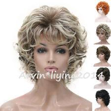Peluca corta para mujer señoras real natural rizado esponjosos completa pelucas de Cabello Fiesta Disfraz para Juegos con