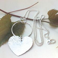 Long sterling silver chain necklace with handmade hammered sterling silver heart
