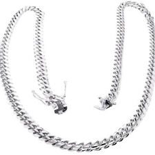 316 Stainless Steel Hip Hop White Gold Cuban Link Chain Necklace
