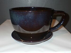Extra Large Tea Cup Planter Coffee Cup Pottery Flower Pot w/ Attached Saucer