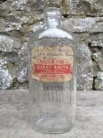 Vintage 1/2 Pint Glass Bottle - Fluted Back - Harry Smith Chemist Pendleton
