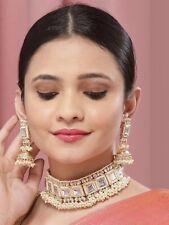 Kundan Choker Necklace Indian Bollywood Gold Plated Bridal Wedding Jewelry Set