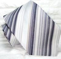 Cravatta righe grigio Nuova 100% seta  realizzata a mano Made in Italy