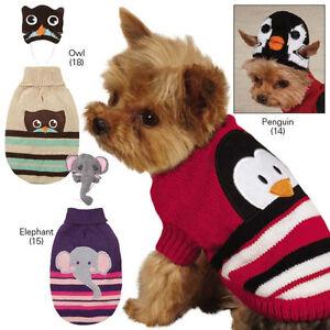 Zack & Zoey Piggyback Pals Dog Sweater and Hat Set Pet Penguin Owl Elephant