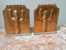 Arts and Crafts Copper Bookends in Cactus design