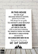 DISNEY RULES HOUSE NEW HOME SIGN PLAQUE FROZEN TOY STORY A4 SIZE 145