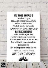 A4 las reglas de Casa Firmar Placa De Disney congelados de Toy Story Sirenita 145