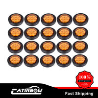 """20x Amber Side Marker Light 2"""" Round 9 led Incandescent Clear For Truck Trailer"""