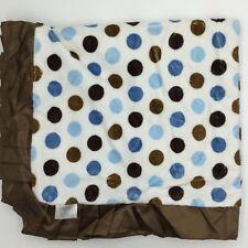 Swankie Blankie Brown Blue Polka Dot Velour Satin Ruffle Baby Blanket White