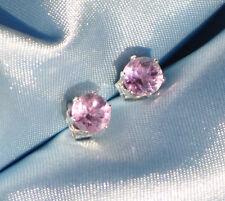 5.0MM  ROUND NATURAL AMETHYST STUDS HANDCRAFTED  IN STERLING SILVER 1.00 CTW