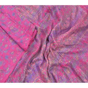 Sanskriti Vintage Pink Sarees 100% Pure Silk Printed Sari Craft Sewing Fabric