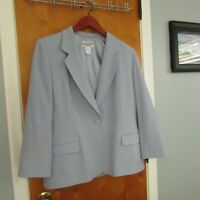 Women's Pendleton Wool Blazer 14 Solid Blue Smooth 100% Virgin Jacket Vintage