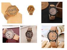 Orologi Effetto Legno Orient Uomo Donna Nuovo Komono Nero Marrone Vintage Wood