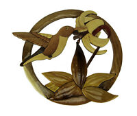 Hand Carved Wood Art Hummingbird and Flower Wall Hanging